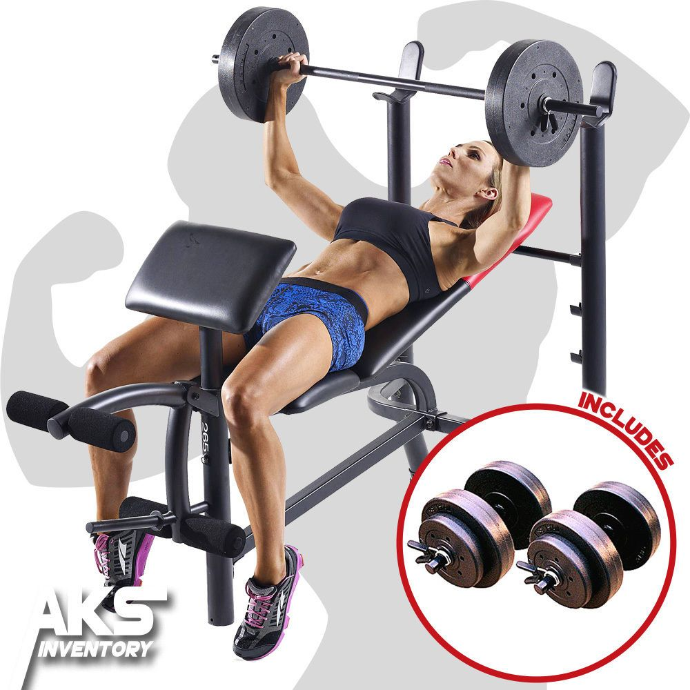 Home Gym Exercise Weight Bench 80lb Barbell 40lb Dumbell Free