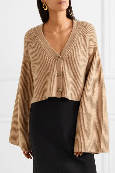 Cabot Cropped Ribbed Merino Wool And Cashmere-blend Cardigan - Camel Elizabeth & James Fashionable Online Big Discount Cheap Price Free Shipping Pay With Paypal Find Great Cheap Online fTdyPby9