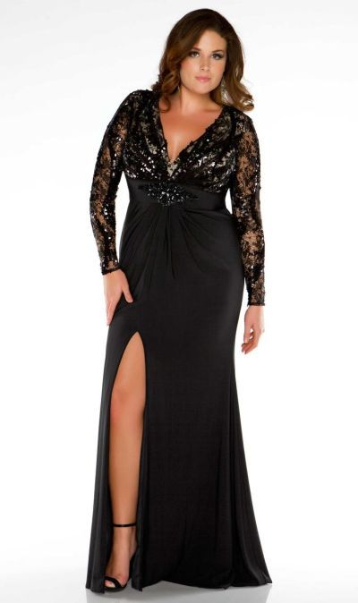 Fabulouss 76457F Plus Size Illusion Long Sleeve Evening Dress at ...