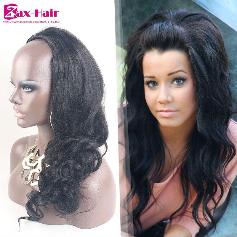 Human Hair Half Wigs Body Wave Clip In Lace 34 Half Wig Brazilian