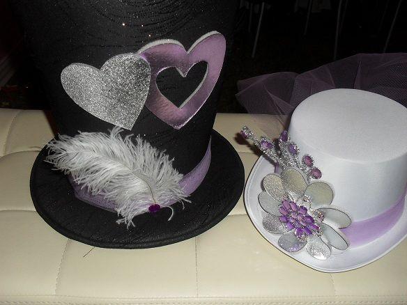 Sombreros de copa para novia y novio 1 fiestas arreglos - Decoracion de sombreros ...