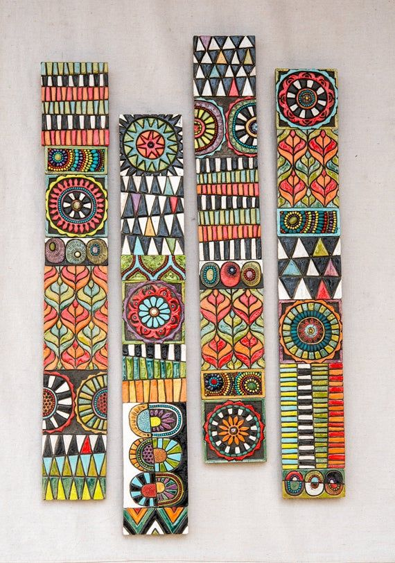 Large Ceramic Wall Art Set Global Folk Sticks Handmade Tile Wall Art Vertical Or Horizontal Long Narrow Mosaic Wall Art Ready To Ship Tile Wall Art Ceramic Wall Sculpture