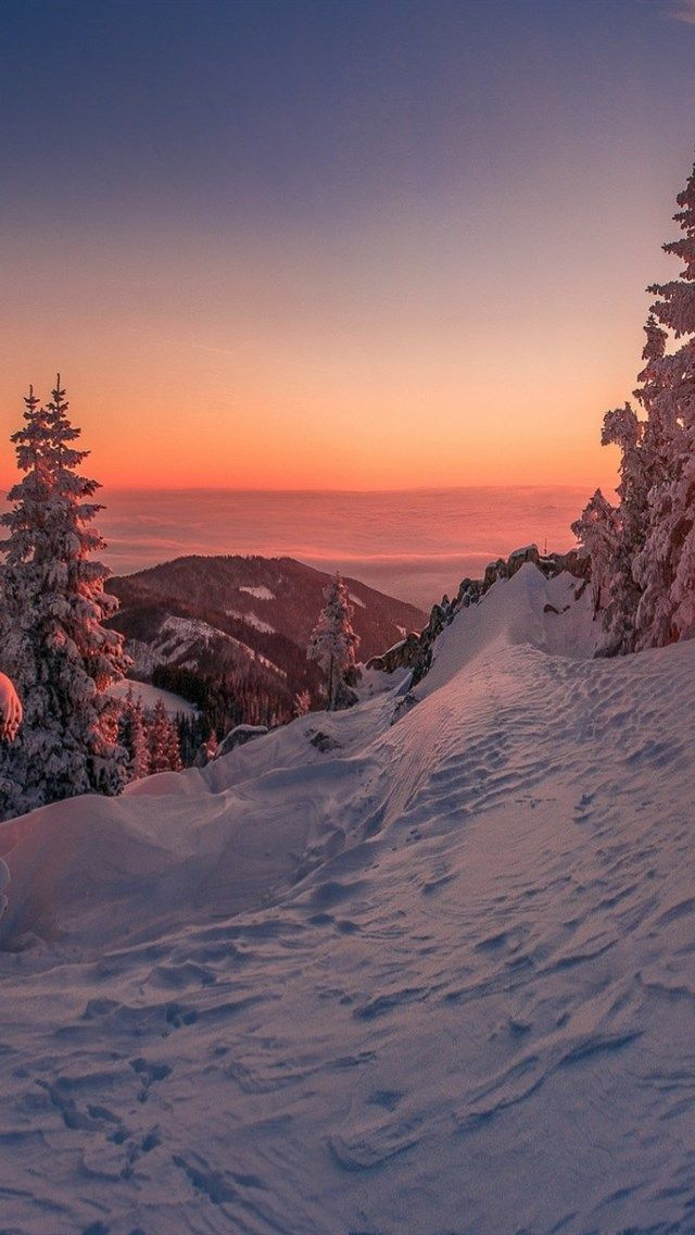 Winter, Sonnenuntergang, Berglandschaft, Schnee, Wald, Winter Hintergrund winter background #vscowallpaper #fondecrannoel