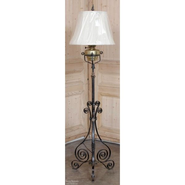 Antique country french wrought iron oil lantern floor lamp lamp antique country french wrought iron oil lantern floor lamp aloadofball Choice Image