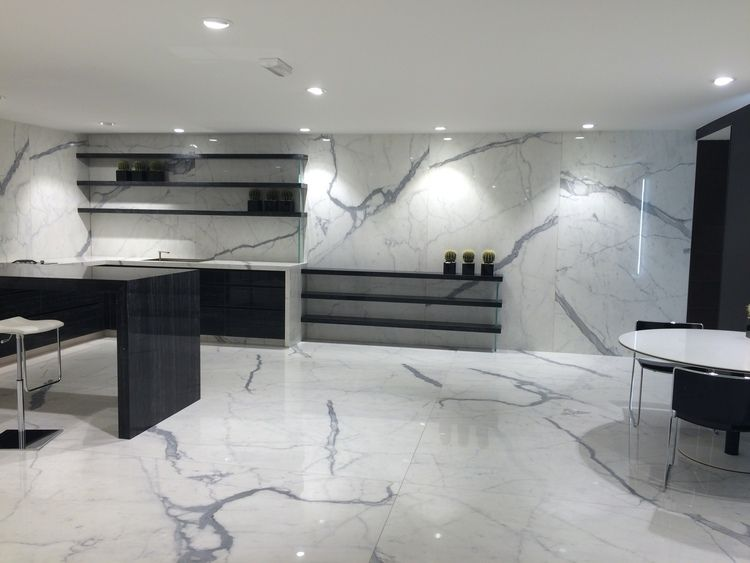 Porcelain Statuario Slab and Tiles | Marble flooring design, Floor design, Home room design