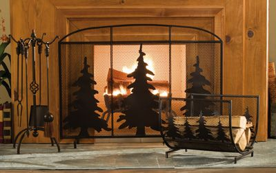 Evergreen Rustic Northwoods Fireplace Screen Fireplace