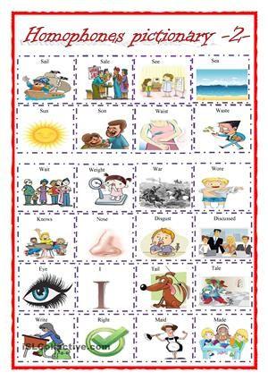 Homophones Pictionary 2 Homophones Pinterest Worksheets
