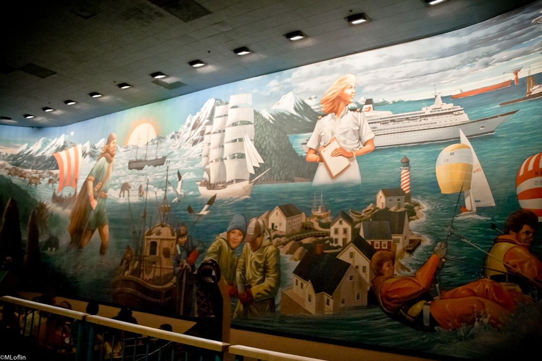 Epcot norway 39 s maelstrom mural disney pinterest for Disneyland mural