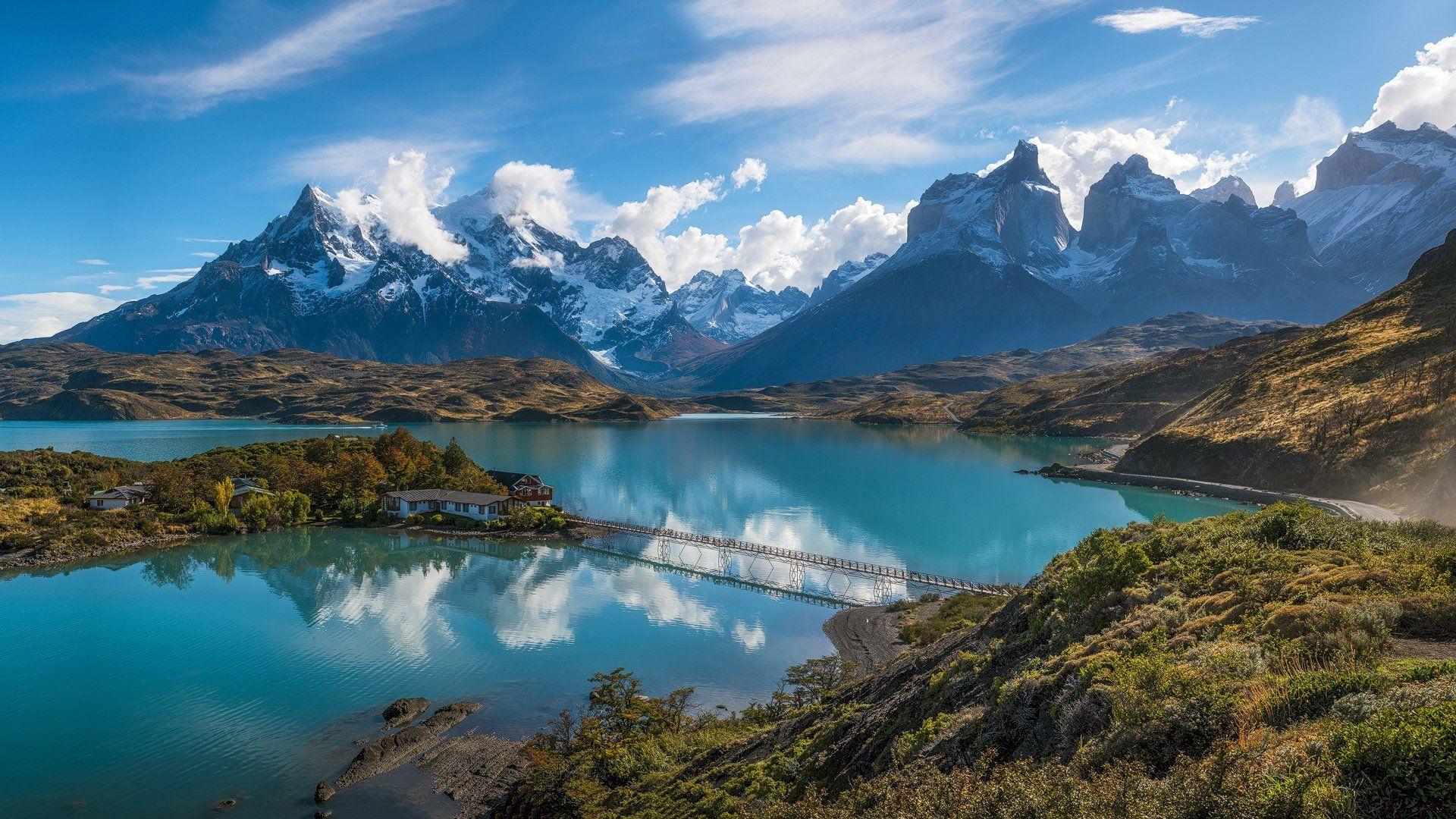 south america chile patagonia andes mountains lake bridge island