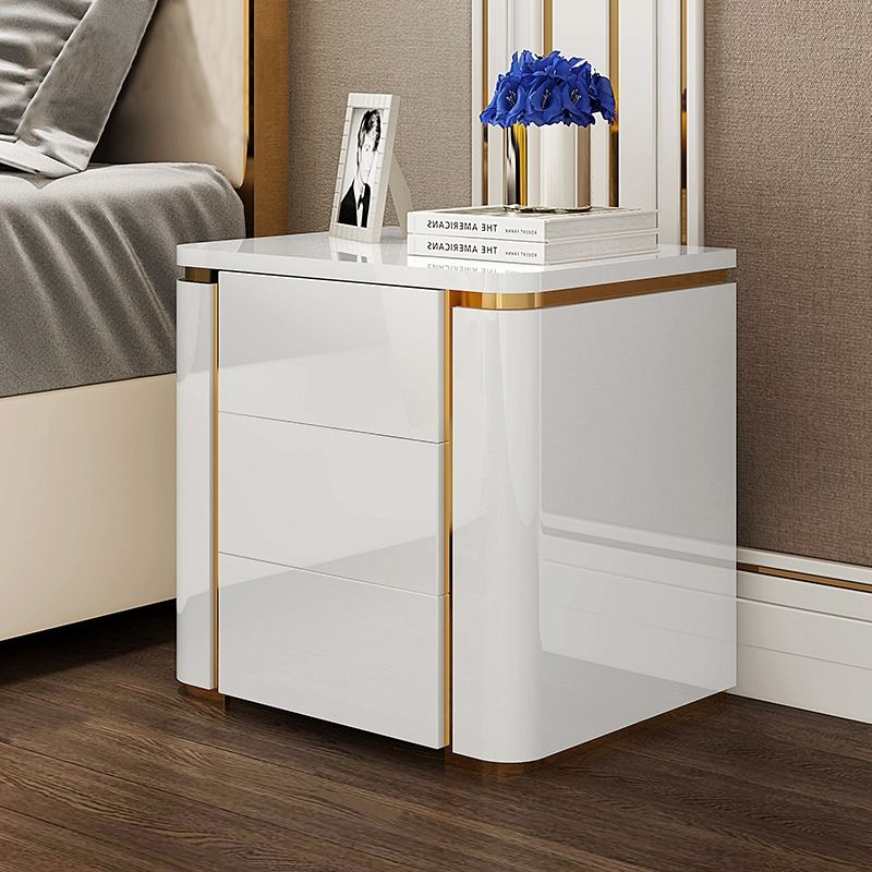 Modern Luxury White Gold 3 Drawers Bedroom Nightstand Square Bedside Table Bedroom Night Stands Square Bedside Table Bedside Table Design