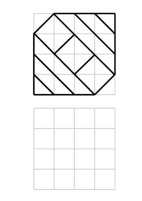 Neue Muster im 4×4-Raster Kunst arbeitsblatt Muster
