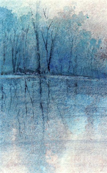 alberi acquerello in ceruleo, debiriley.com