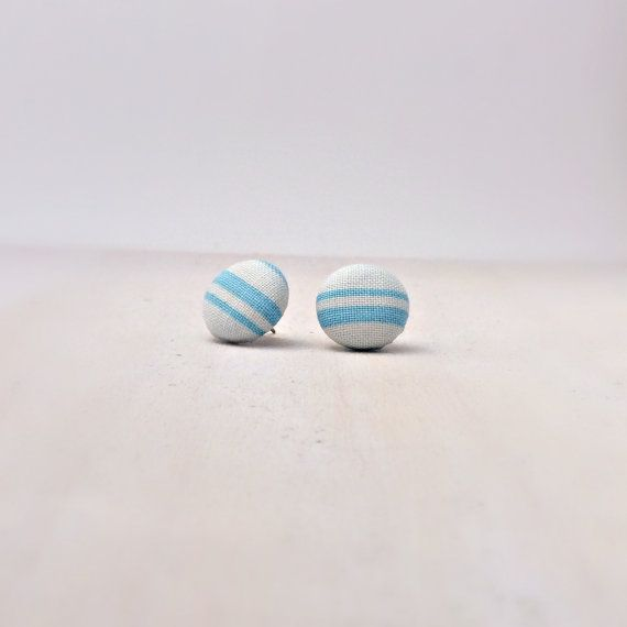 Fabric button earrings, Blue, White, Nautical, Beach, Country Chic, Boho, Hypoallergenic, Buy 3 get 1 free on Etsy, $6.00