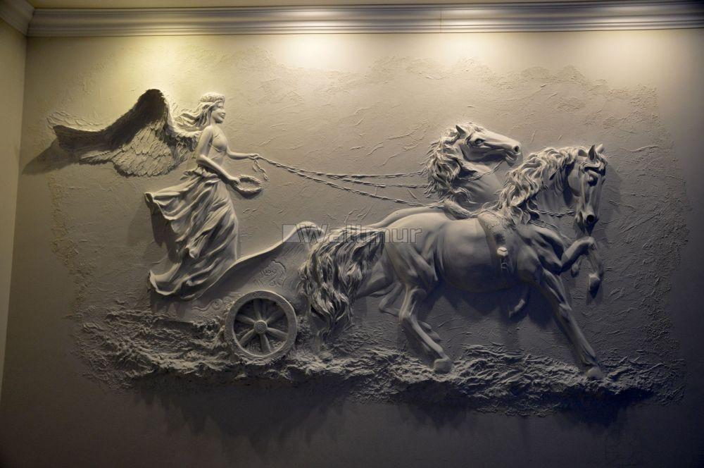 3d Embossed Look Cement Sculpture Horse Wallpaper Mural Wall Sculpture Art Mural Wall Art Plaster Wall Art