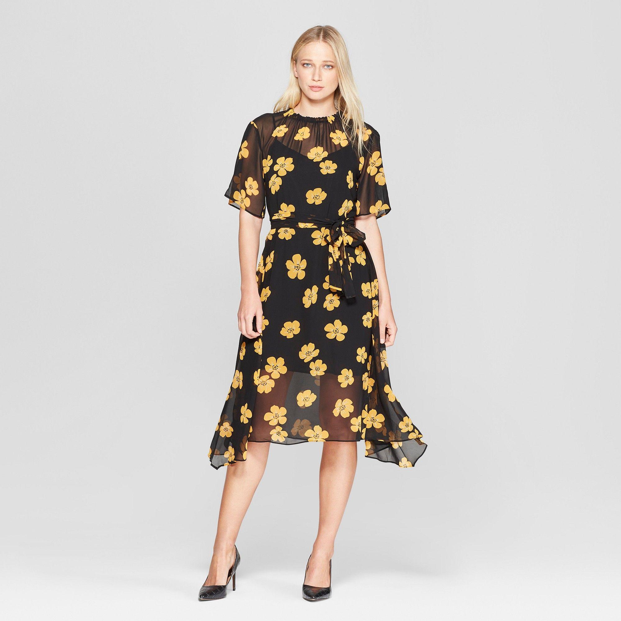 Women S Floral Print 3 4 Sleeve Belted Flowy Midi Dress Who What Wear Black Yellow M Flowy Midi Dress Chic Summer Dresses Dresses [ 2000 x 2000 Pixel ]