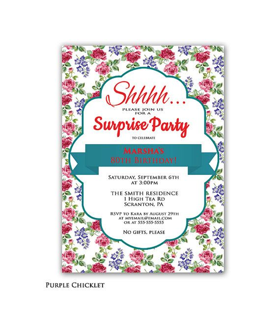 Surprise party invitation rose birthday invite teal and red high surprise party invitation teal and red 80th birthday party invitation elegant high tea rose floral adult filmwisefo Image collections