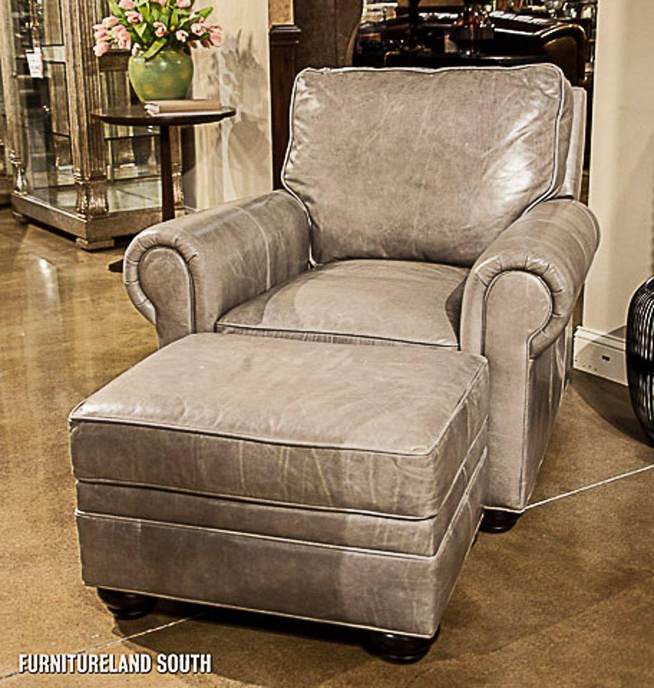 Bradington Young Grey Leather Varitilt Chair and Ottoman