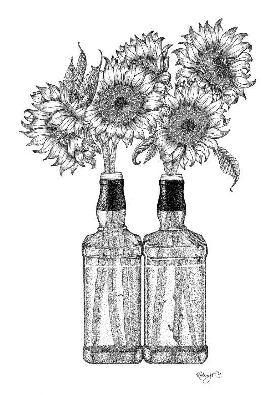 Stippled Artwork by Rachael Kotvojs - Bottled Sunflowers