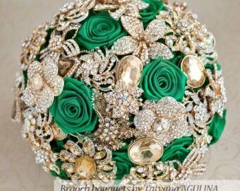 Emerald Green Gold Wedding Bouquets Wedding Brooch Bouquets