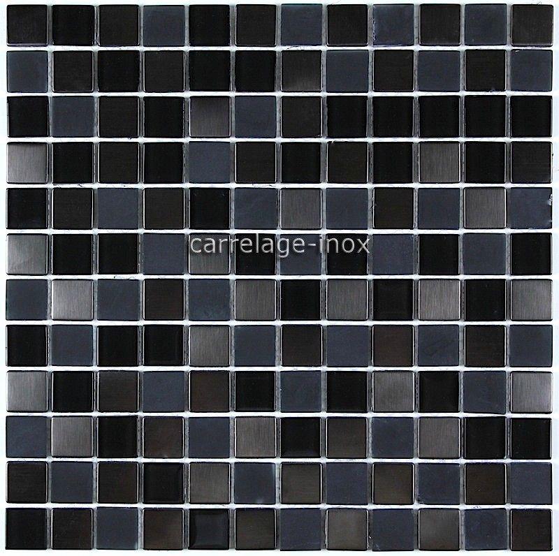Carrelage Cuisine Credence Inox Mosaique Verre Et Inox Cm Doblo Noir