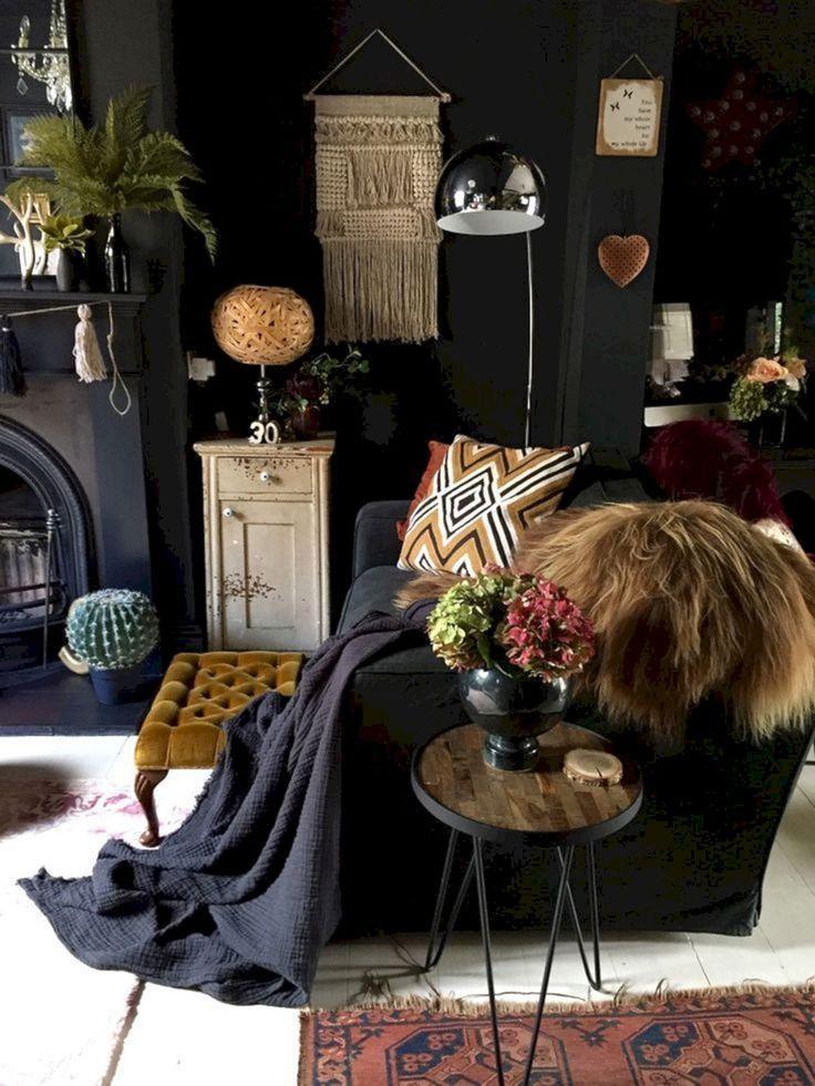 10 wspaniałych ciemnych czeskich pomysłów na dekorację dla większego komfortu #boholivingroom