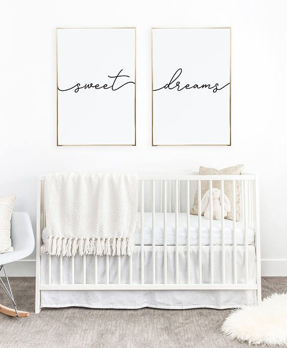 Above Crib Art Set Of 2 Prints Minimalist Poster Above Bed Art