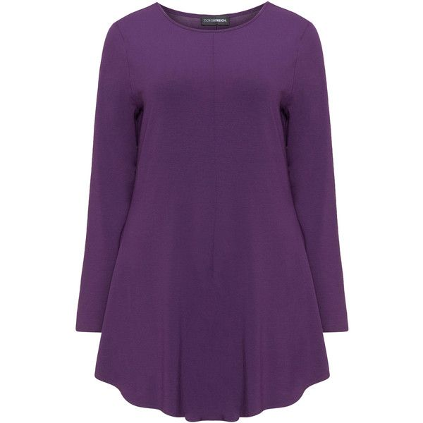 Doris Streich Dark-Purple Plus Size Long sleeved A-line top (€71) ❤ liked on Polyvore featuring tops, plus size, plus size tops, womens plus size tops, womens plus tops, long sleeve jersey top and jersey top
