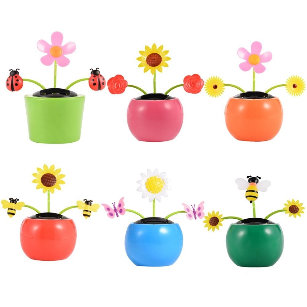 3dcdbef5a Solar Powered Flip Flap Flower Pot Style Dancing Toy Home Car Decor-Hot Sale