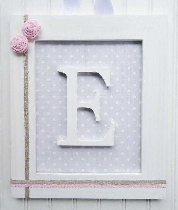 Framed Nursery Letters, Vintage Gray, Pink Gray Nursery, Framed Wall ...