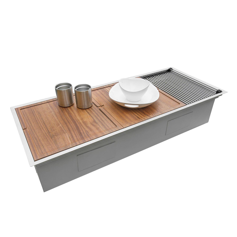 Ruvati 45 Workstation TwoTiered Ledge Kitchen Sink 16