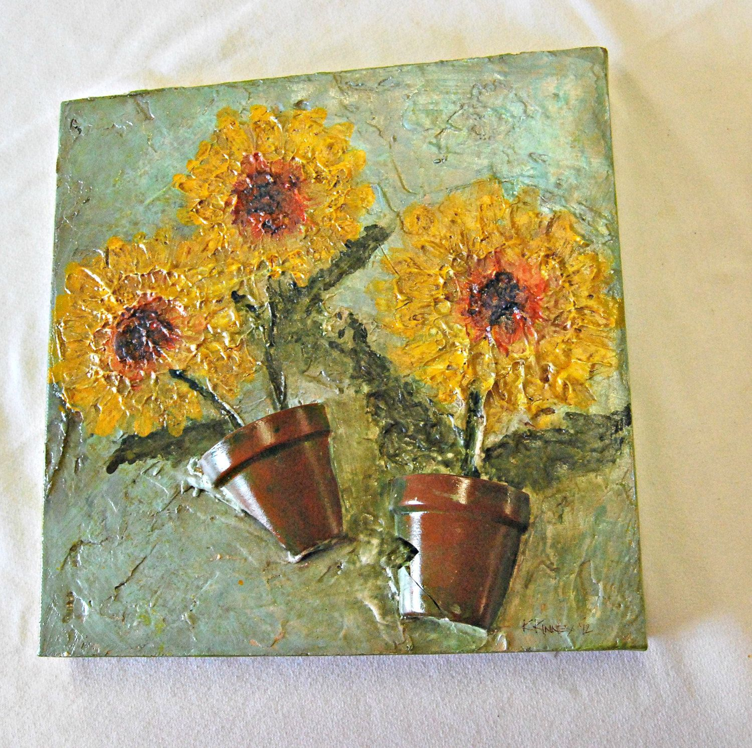 12X12 Canvas Relief Acrylic Painted Flowers With Terracotta Pot Pieces