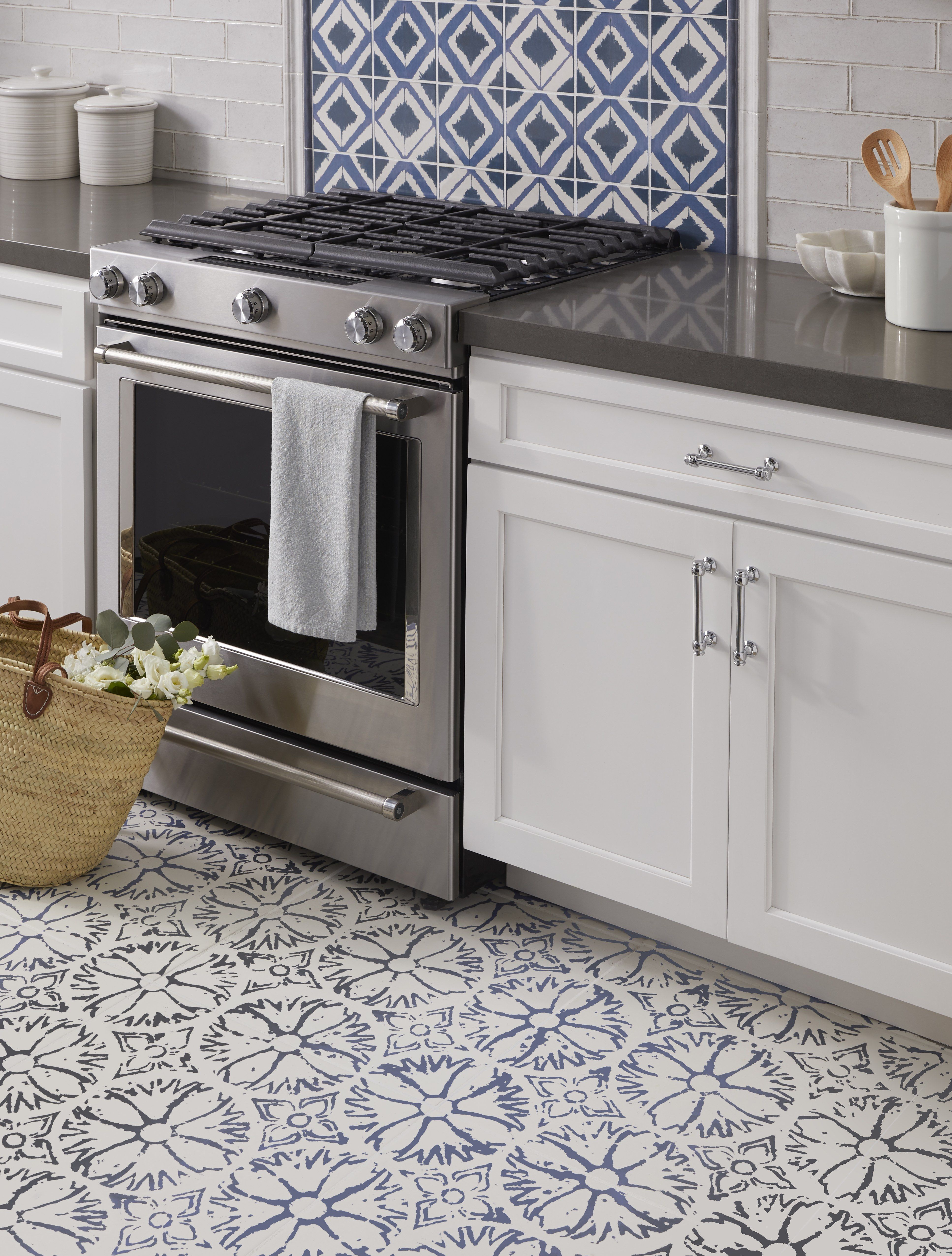 Inspired By Vintage Block Prints Annie Selke Aylin Has A Handmade Printed Linen Look Which Brings An A Kitchen Floor Tile Kitchen Flooring Kitchen Mats Floor
