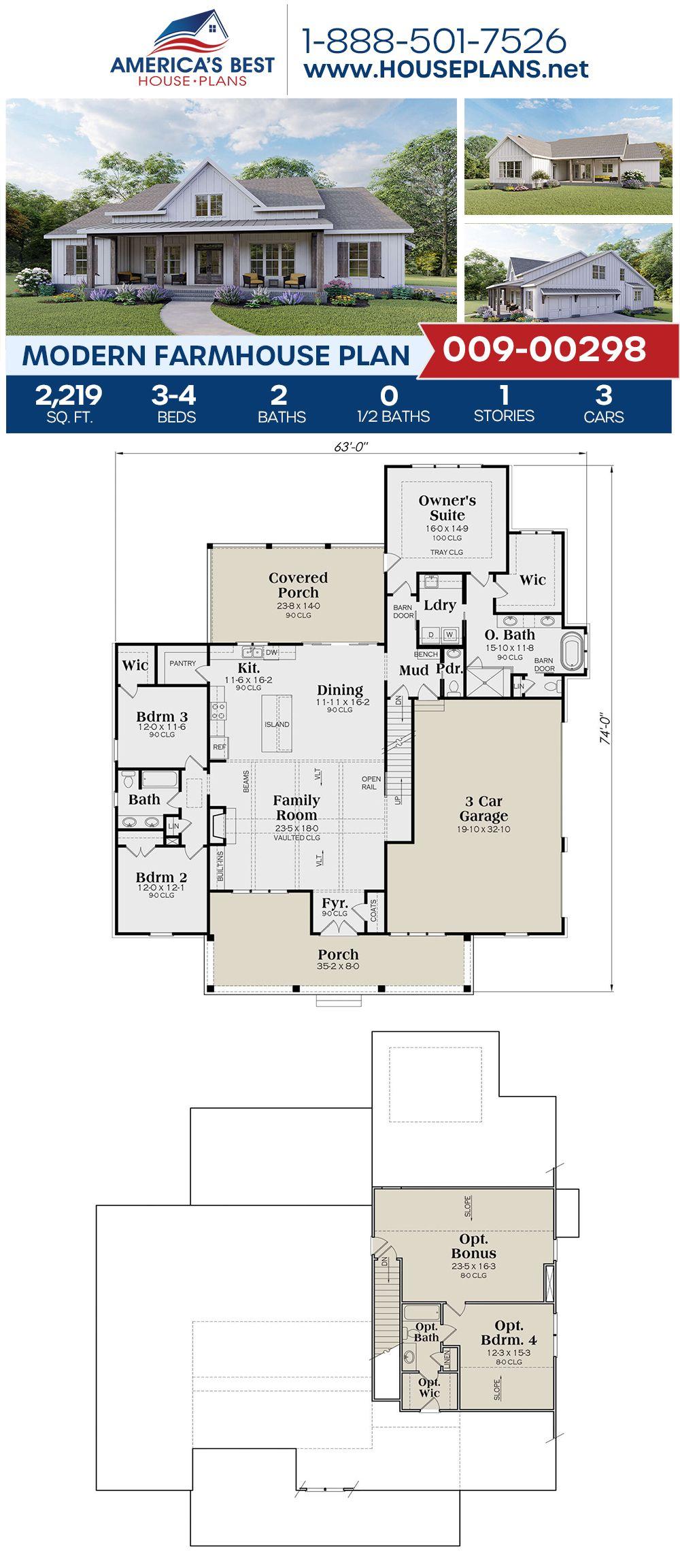 House Plan 009 00298 Modern Farmhouse Plan 2 219 Square Feet 3 4 Bedrooms 2 5 Bathrooms Modern Farmhouse Plans Farmhouse Floor Plans Porch House Plans
