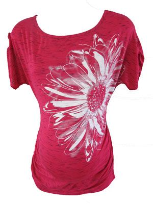 Flower Tee in Hot Pink by P Inc Maternity - Maternity Clothing - Flybelly Maternity Clothing