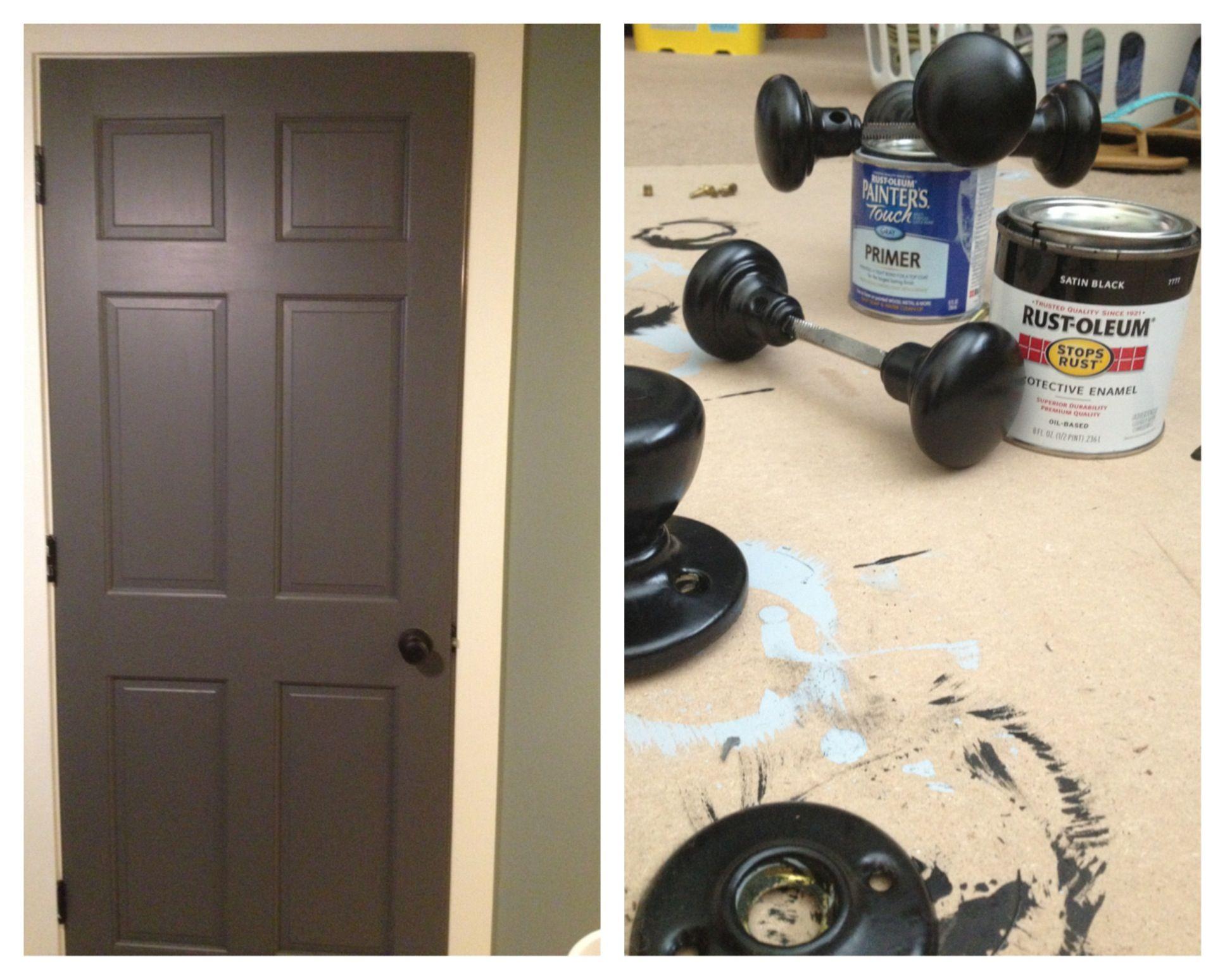Painted All Interior Doors Dark Kept Trim Light Old Br Door S Black Used Benjamin Moore Kendall Charcoal Pearl Finish On