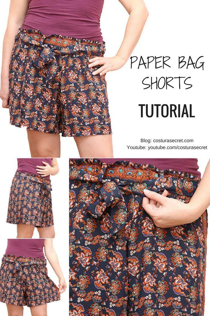 Diy Paper Bag Shorts Tutorial Diy Short Mujer Hacer Pantalones Pantalones Cortos De Mujer Pantalones Mujer