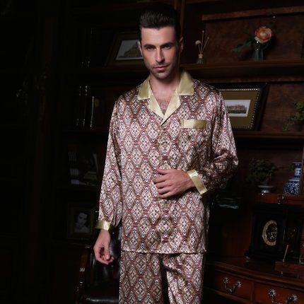 19fcb107fa Wholesales Pure Silk Satin Sleepwear Sale Long-Sleeve Men Pyjamas Pajama  Sets Pants 100% Natural Silk Pajamas Set YF2515