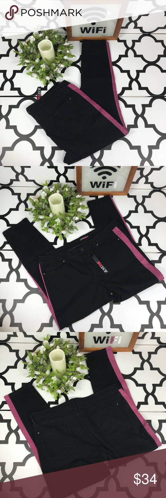 💝5for$25 Just Fab Black & Pink Skinny Jeans JustFab  Skinny Jeans   Black/Pink  35  Length-40 Inseam-29 Waist-38 Rise-11  #0878 JustFab Jeans Skinny