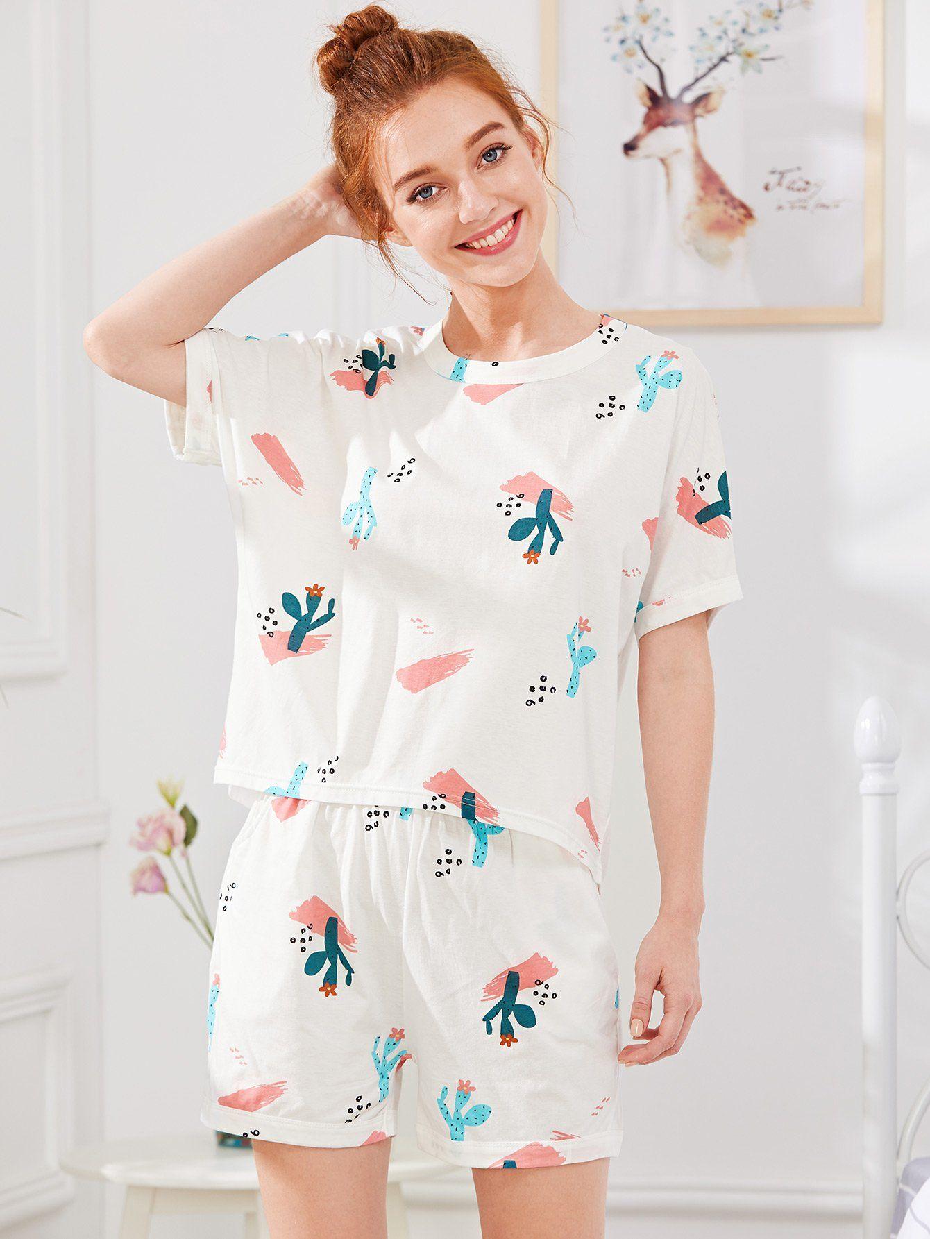 1e2179e892 Cactus Print Tee & Shorts PJ Set -SheIn(Sheinside) | Clothing Loves ...