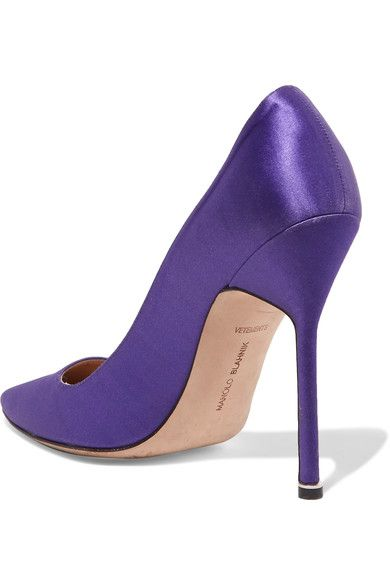 + Manolo Blahnik Printed Satin Pumps - Purple VETEMENTS