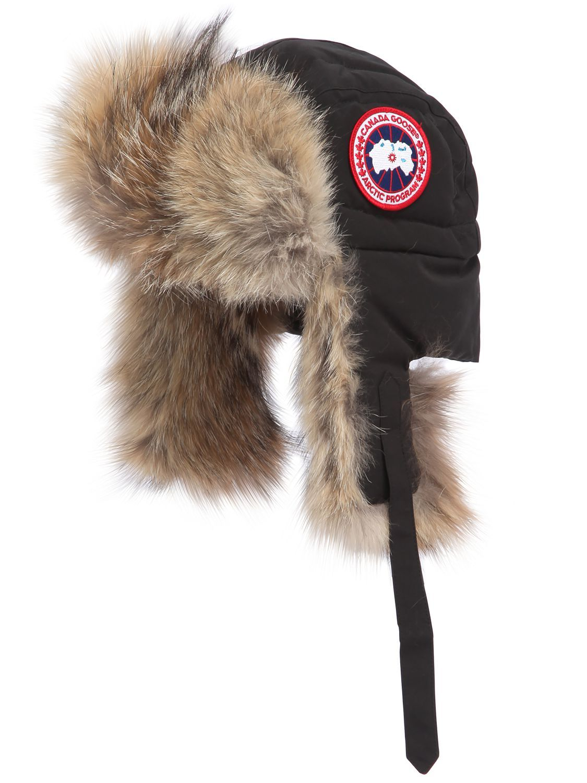 Canada goose aviator canvas fur down hat in black