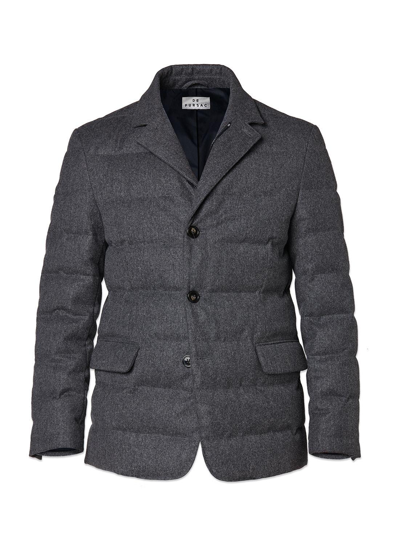 36424aaf6d2aa Doudoune homme en flanelle de laine technique   achetez votre doudoune gris  chiné 17HM3KMON-KM30