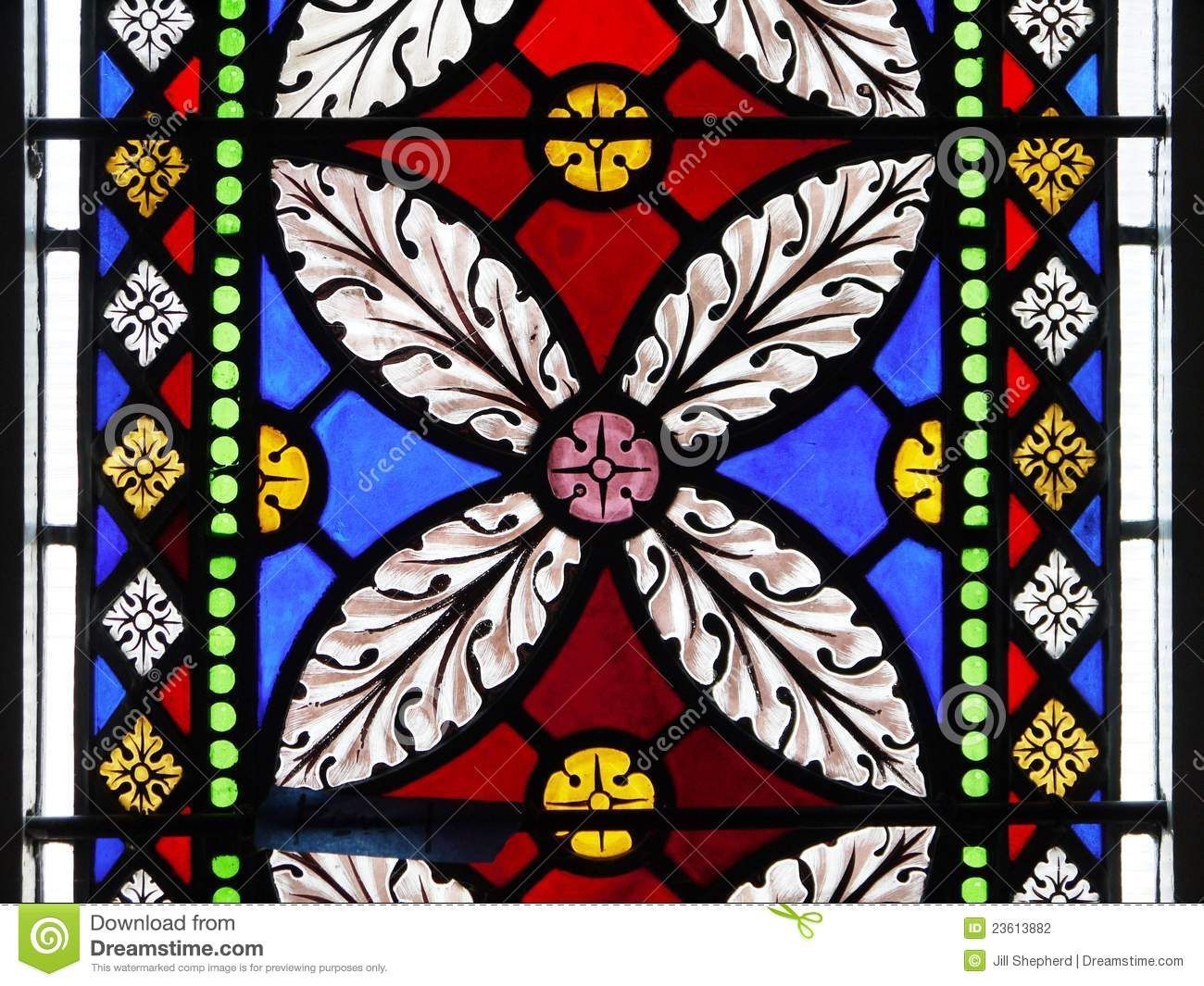 Church stained glass window flower design stock - Stained glass window designs ...