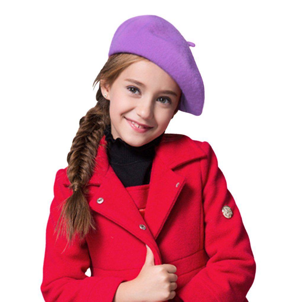 5dec103546764 Kids Girls Boys 100% Wool French Dome Beret Hat Flat Cap Winter Autumn  Fancy Dress