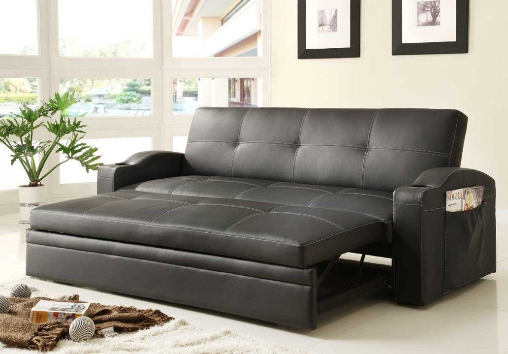 Novak Black Leather Sofa Bed With Pull, Black Leather Sofa Bed With Storage