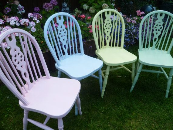 4 X Vintage Shabby Chic Wooden Wheel Back Coloured Chairs