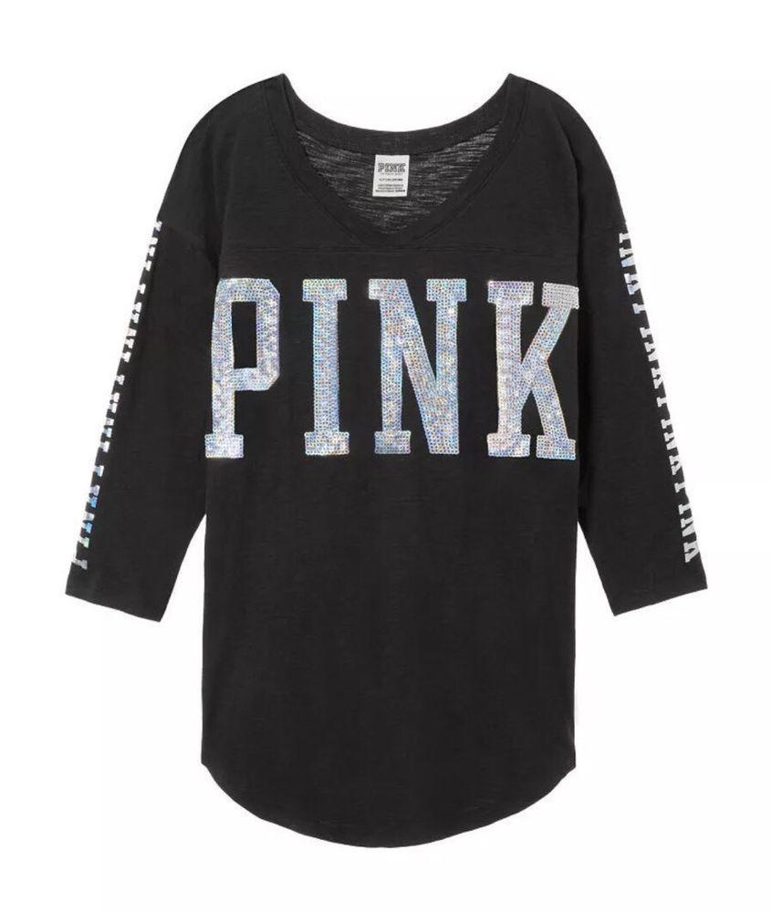 MEDIUM NWT Victoria/'s Secret Pink BOYFRIEND JERSEY BLING TEE TSHIRT WHITE