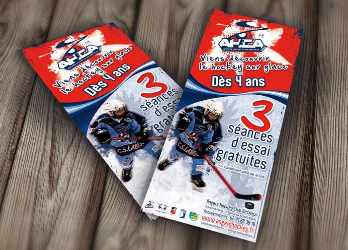 Création et conception d'un flyers pour l'association sportive Angers Hockey Club Amateur. Impression des supports et livraison des fichiers.