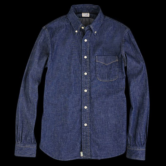 Orslow Button Down Shirt in Denim Angle3