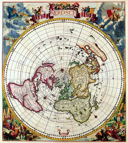 Antique map 16 flat earth cartography and earth northern hemisphere old mapsold world gumiabroncs Image collections